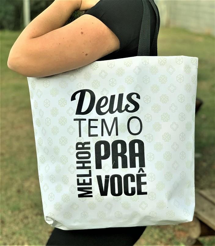 Bolsa Sacola Nylon Moda Evangélica - Deus Tem O Melhor Para Você