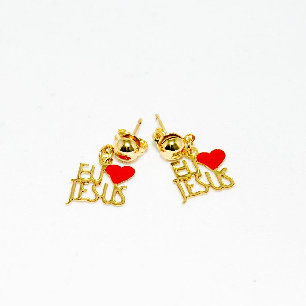Brinco - Eu Amo Jesus - Folheado a Ouro 18K