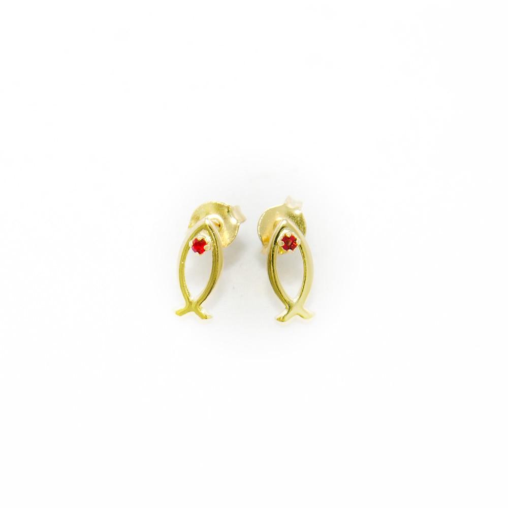 Brinco - Peixe Cristão Pedra Vermelha - Folheado a Ouro 18K