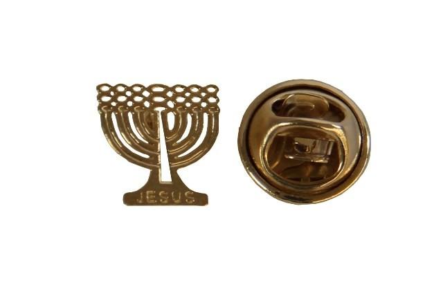 Broche - Candelabro Menorah Jesus - Folheado a Ouro 18K