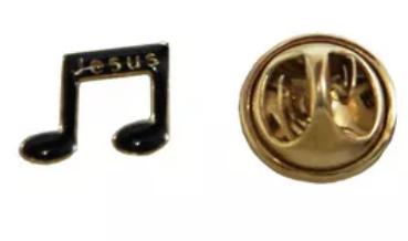 Broche - Nota Musical Jesus - Folheado a Ouro 18K