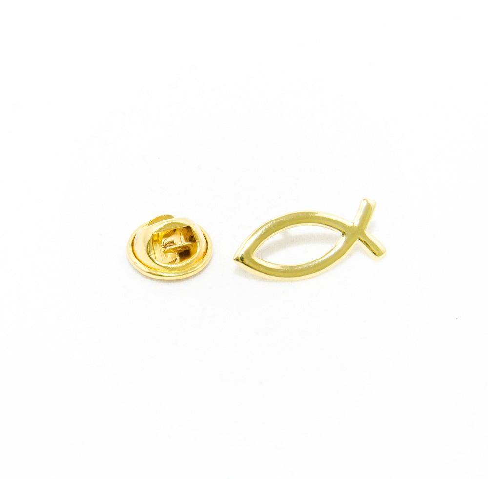 Broche - Peixe Cristão - Folheado a Ouro 18K