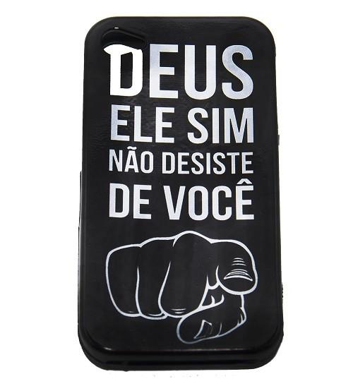 Capa para Celular iPhone - Deus Ele Sim Não Desiste de Você