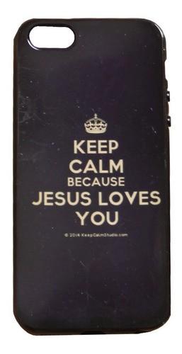 Capinha para Celular iPhone Preta - Keep Calm And Believe In Jesus (Mantenha a calma e acredite em Jesus)