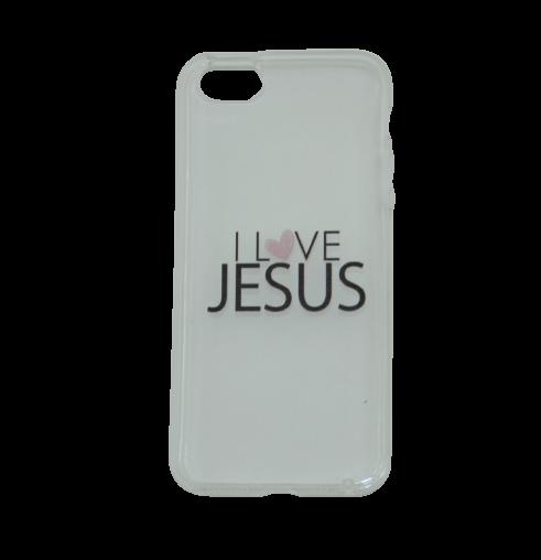 Capinha para Celular iPhone Transparente - I Love Jesus (Eu Amo Jesus)