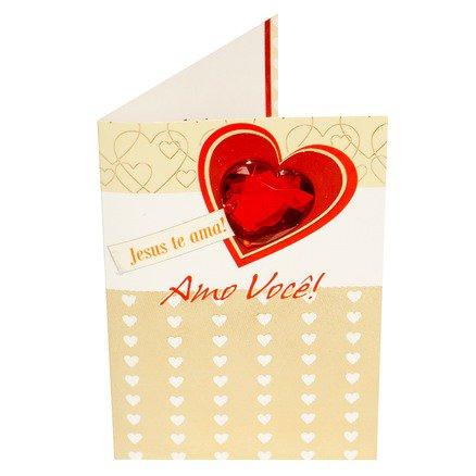 Cartão Para Presente Com Envelope Branco e Dourado Coração - Amo Você
