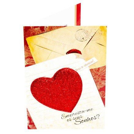 Cartão para Presente - Carta Coração - Empresta-me os seus Sonhos?