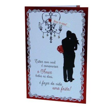 Cartão para Presente - Casal Beijo - Estar Com Você é Comemorar o Amor