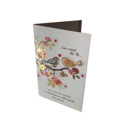 Cartão Para Presente com Envelope Arvore Passaros - Um Casal de Fé Que Louva ao Senhor