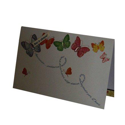 Cartão Para Presente com Envelope Branco Borboletas - Amizade...