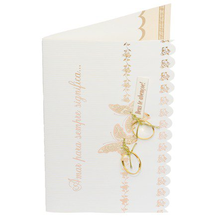 Cartão Para Presente com Envelope Branco e Dourado Aliança - Amar Para Sempre Significa...