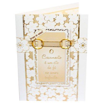 Cartão Para Presente com Envelope Branco e Dourado Aliança - O Casamento é Um Ato de Fé