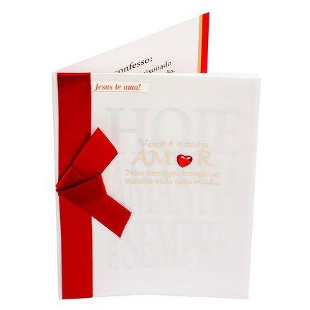Cartão Para Presente com Envelope Branco Fita Vermelha -  Você E Meu Amor Nao Consigo Imaginar...