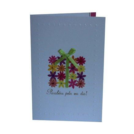 Cartão Para Presente - Flores Presente - Parabéns Pelo Seu Dia