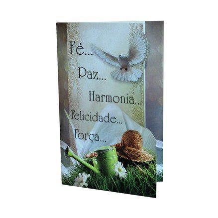 Cartão Para Presente Pomba e Chapéu - Fé, Paz, Harmonia, Felicidade, Força