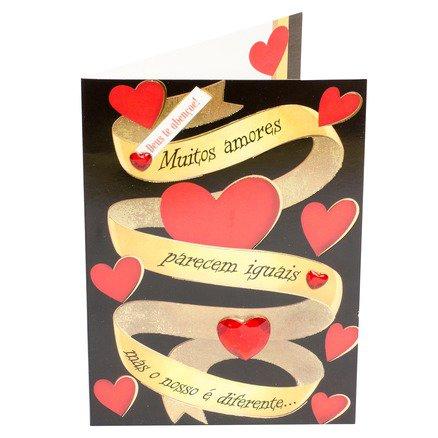 Cartão Para Presente Preto com Fita Dourada - Muitos amores parecem iguais mas o nosso é diferente..