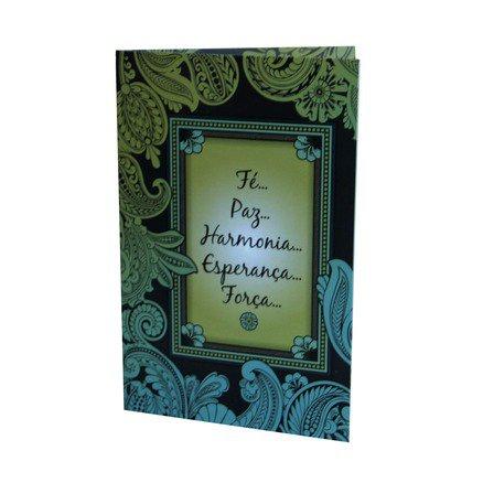 Cartão Para Presente Preto - Fé, Paz, Harmonia, Esperança, Força