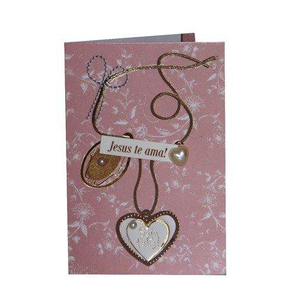Cartão Para Presente Rosa e Branco Coração - Seja Feliz