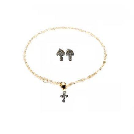 Conjunto Corrente e Brincos Moda Evangelica Folheado a Ouro 18K - Cruz Strass