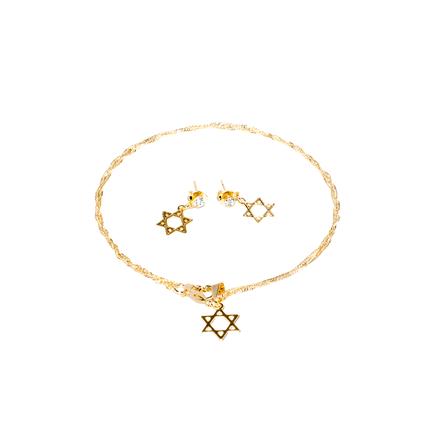 Conjunto Corrente e Brincos Moda Evangelica Folheado a Ouro 18K - Estrela de Davi
