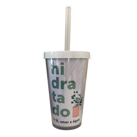 Copo Com Canudo - Hidratado - 400ml