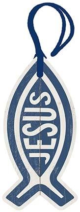 Placa TAG Peixe Cristão em MDF e Papel Decor Home Decorativa