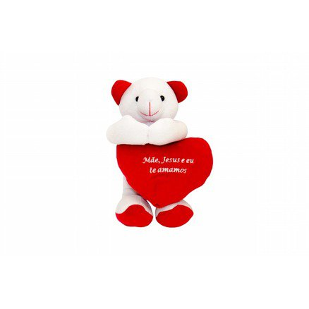Urso Carinhoso Pelúcia - Mãe, Jesus e eu te amamos