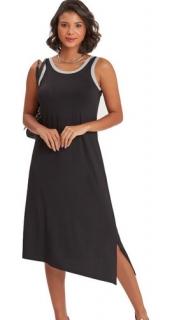 Camisola Feminina Regata Midi Preto Para Dormir - Recco