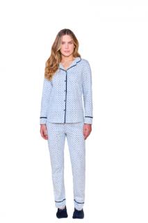 Pijama Algodão Blusa Aberta Poá e Calça Poá Lua Cheia