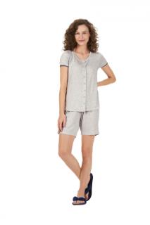 Pijama Feminino Bermudoll c/ Abertura de Botões Mescla Cor Com Amor