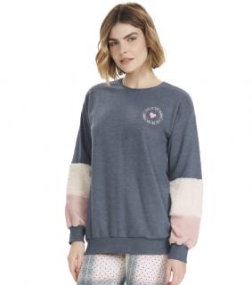 Pijama Feminino Inverno Blusão e Xadrez Cor Com Amor