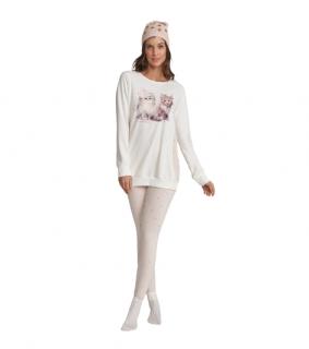 Pijama Feminino Inverno Com Legging Gatinhos Cor Com Amor