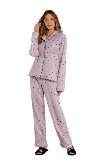 Pijama Feminino Inverno Fleece c/ Botões Lua Luá