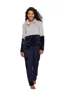 Pijama Feminino Inverno Fleece Cinza e Azul Recco