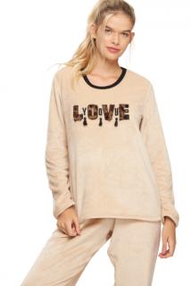 "Pijama Feminino Inverno Fleece ""Love You"" Recco"
