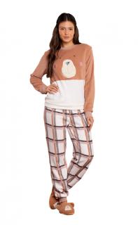 Pijama Feminino Inverno Fleece Urso Xadrez Lua Luá
