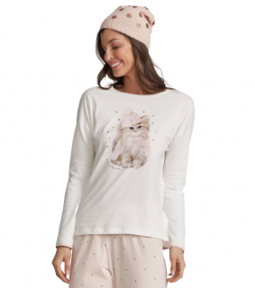 Pijama Feminino Inverno Gatinho Cor Com Amor