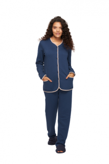Pijama Feminino Inverno Matelasse Clássico Azul Recco