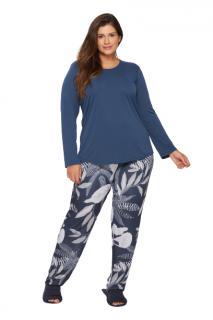 Pijama Feminino Inverno Plus Size Azul Colonial Recco
