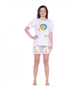 Pijama Feminino Manga Curta Clean Sonhart 100% Algodão