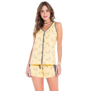 Pijama Feminino Short Doll Regata Bananas VEGGI