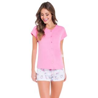 Pijama Feminino Short Doll Rosa Abertura c/ Botões VEGGI