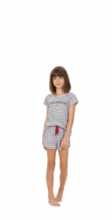 Pijama Infantil Menina Short Doll Listrado Mãe e Filha Cor Com Amor