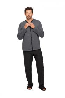 Pijama Masculino Inverno Abertura Botões Mescla e Preto Recco