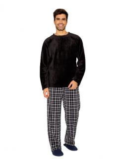 Pijama Masculino Inverno Fleece Preto Xadrez AnyAny