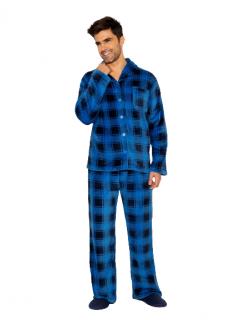 Pijama Masculino Inverno Fleece Xadrez Azul AnyAny