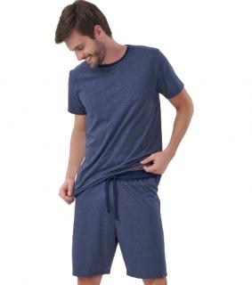 Pijama Masculino Manga Curta Azul Marinho Cor Com Amor