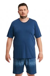 Pijama Masculino Plus Size Microfibra Azul Náutico