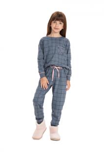 Pijama Menina Inverno Mãe e Filha Azul Xadrez Cor Com Amor