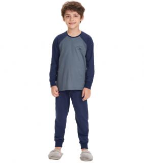 Pijama Menino Infantil Inverno Azul Pai e Filho Cor Com Amor